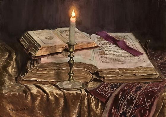 свеча и книги