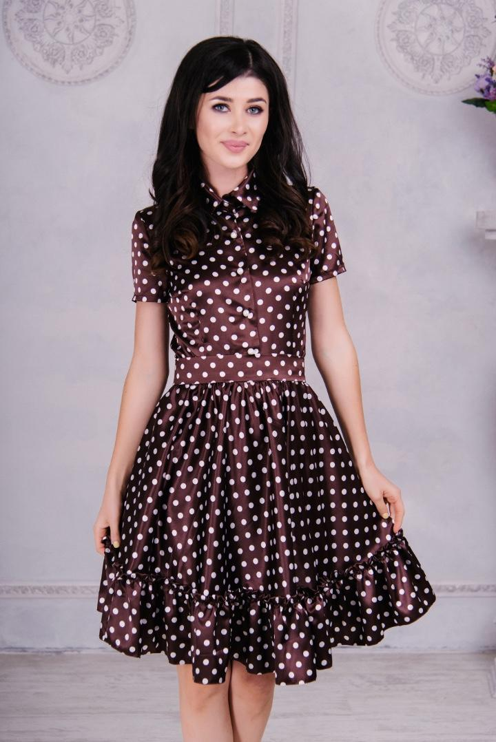 платье в горошек Коричневый