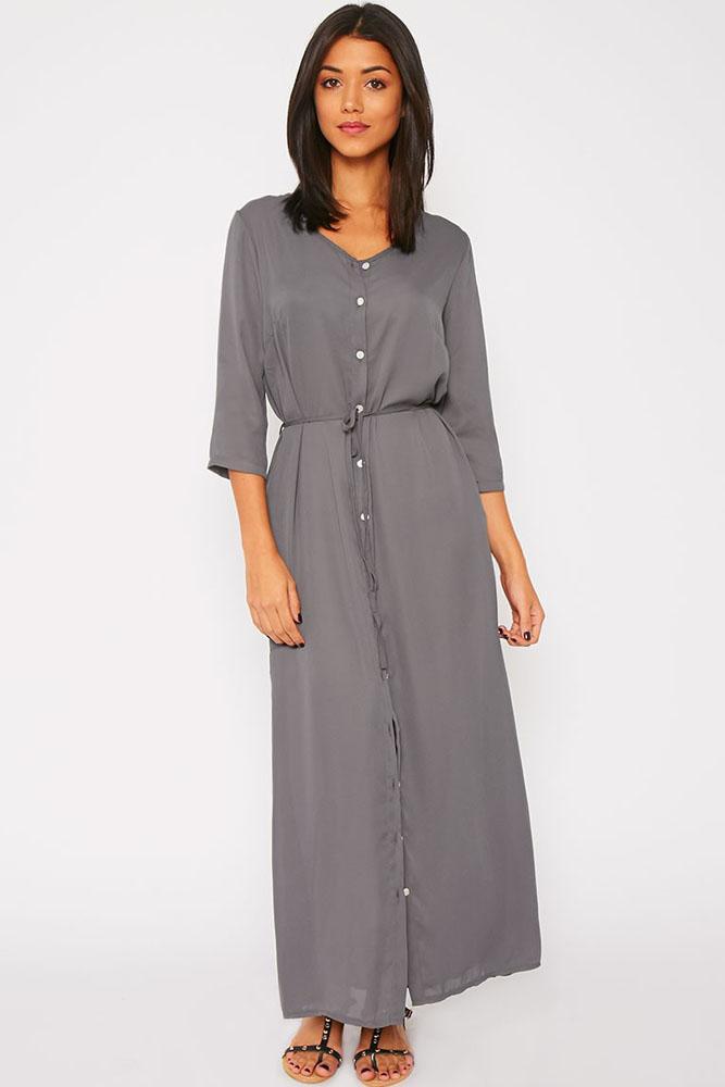 платье рубашка Серое