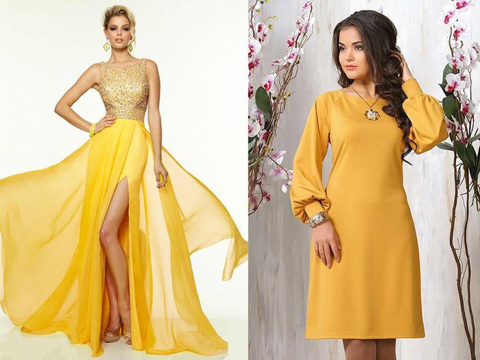 желтые платье