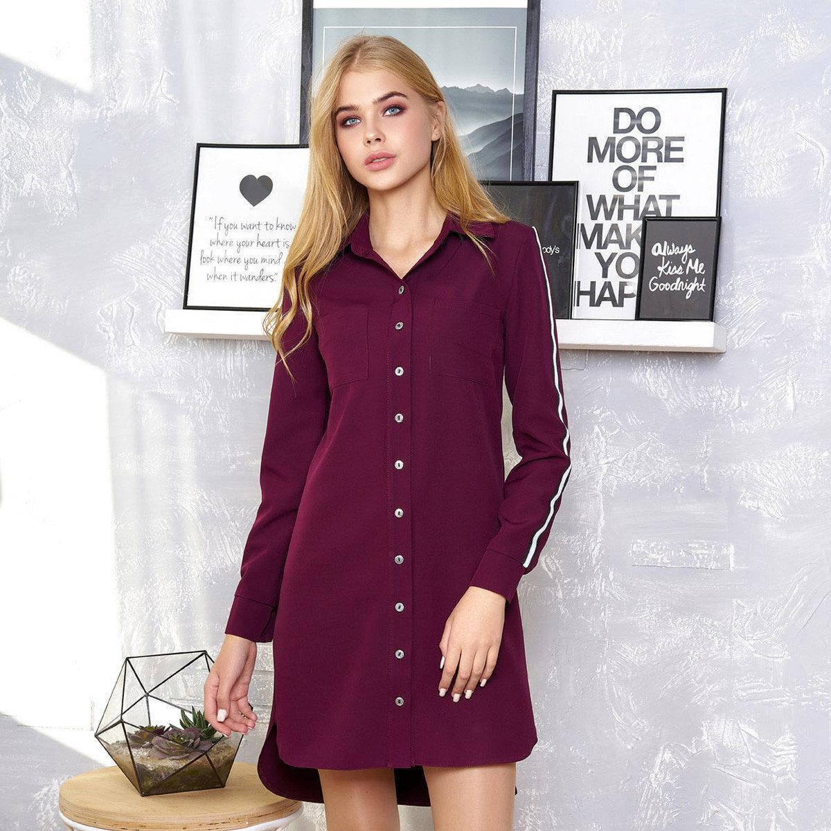 платье рубашка Бордовое