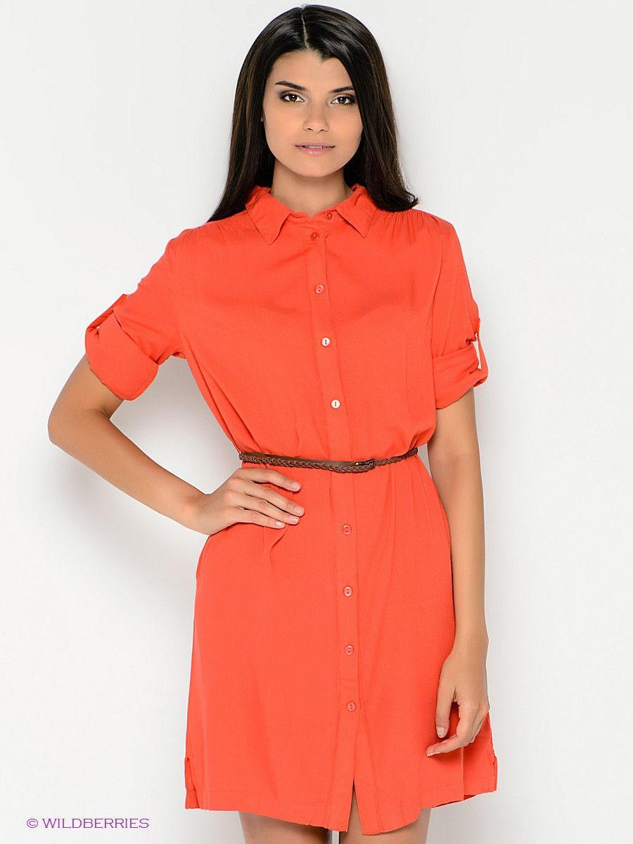 платье рубашка Оранжевое