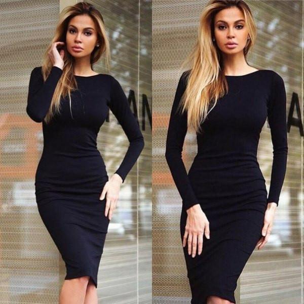 трикотажные платья черно