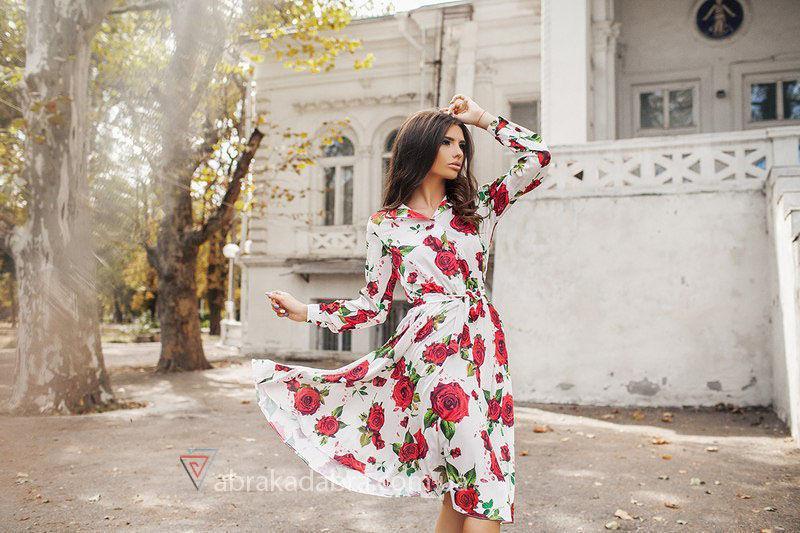 платье рубашка С цветами