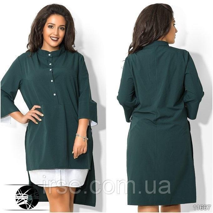 платье рубашка Зеленое