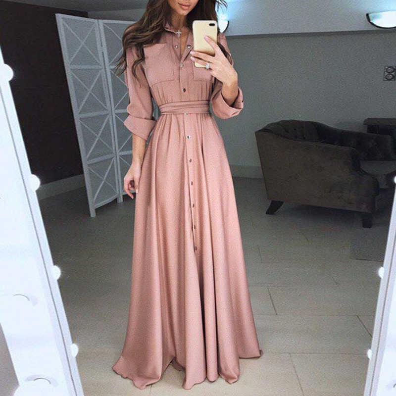 платье рубашка В пол
