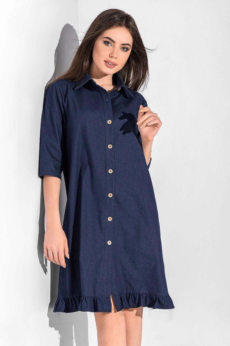 платье рубашка Синее