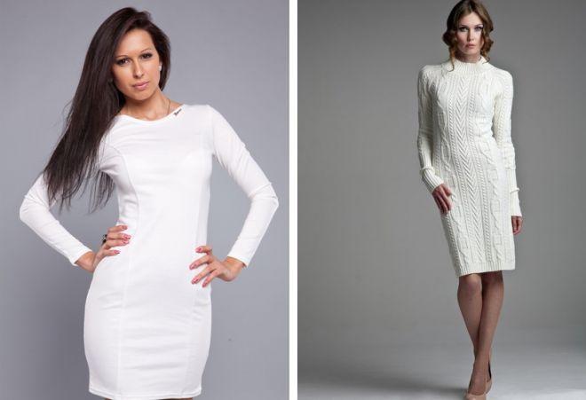 трикотажные платья Белое