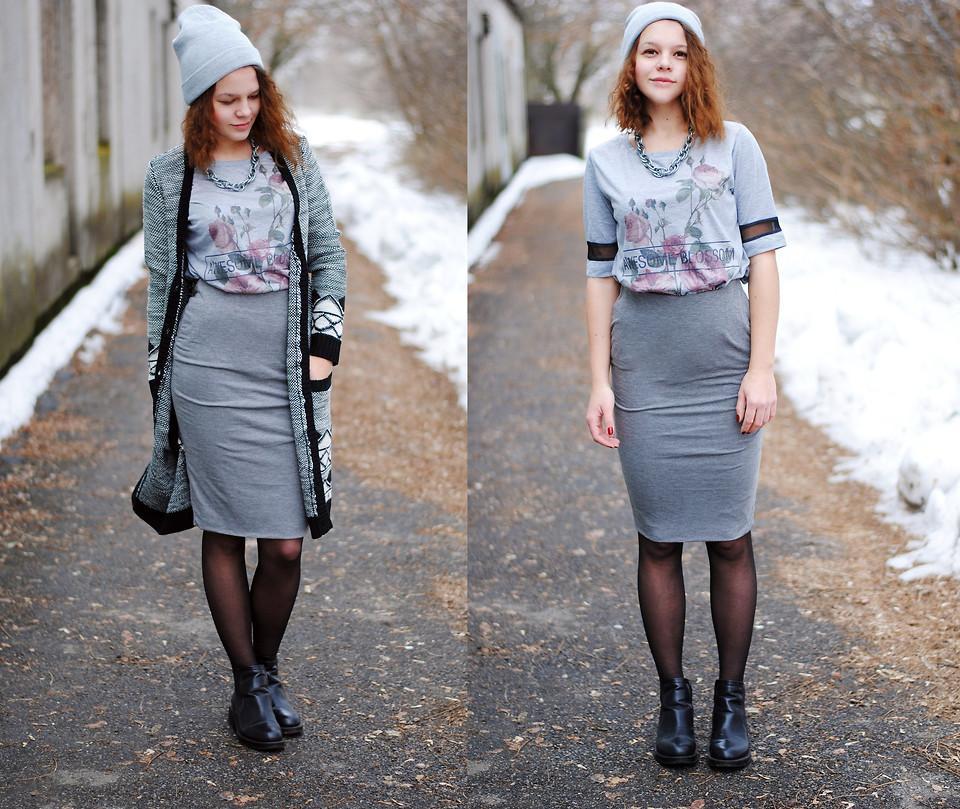 трикотажная юбка с чем носить