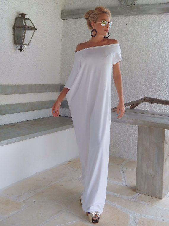 белое платье в пол Туника