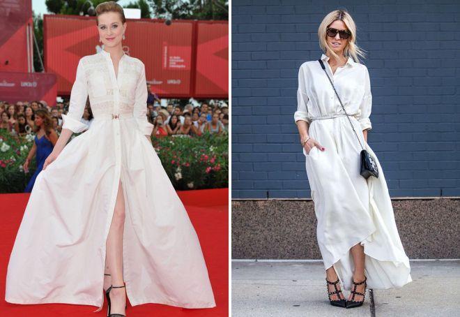 белое платье в пол Рубашка