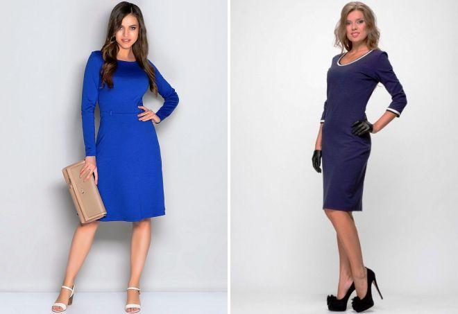 трикотажные платья Синее