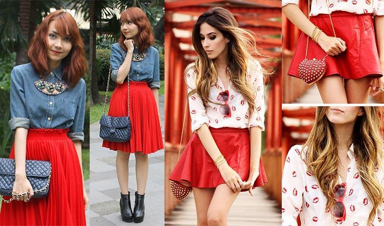 красная юбка с вискозы