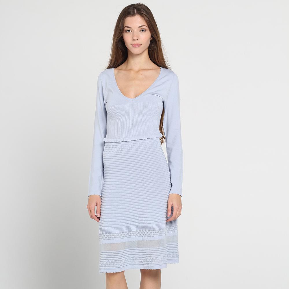 трикотажные платья Голубое