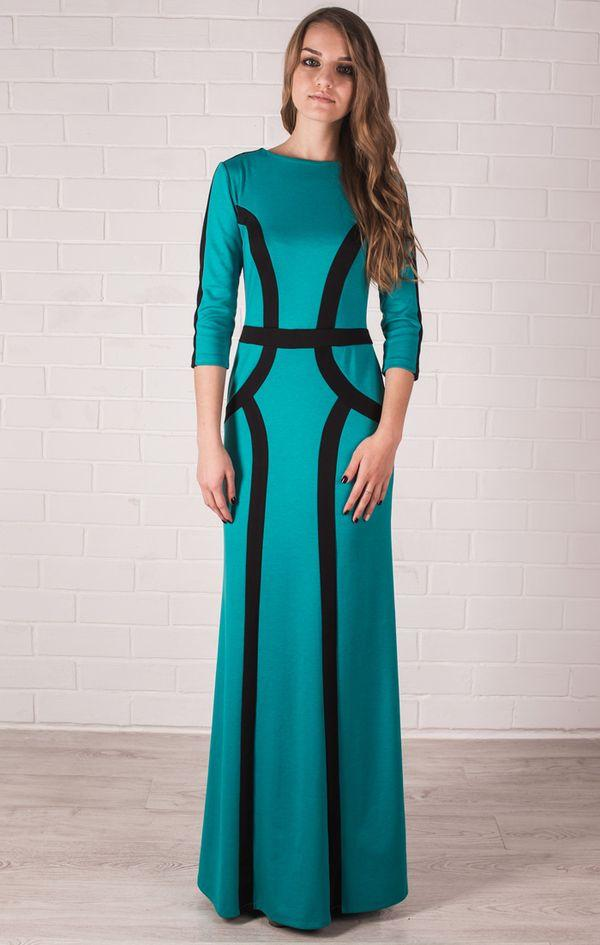 Бирюзовое трикотажное платье