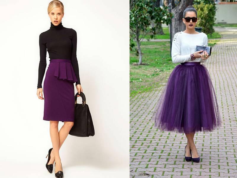 трикотажная юбка Фиолетовый