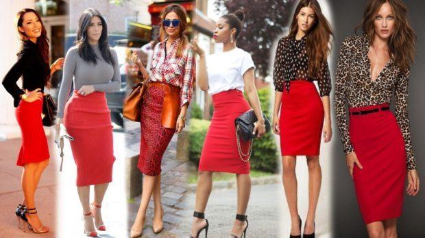 модные красные юбки
