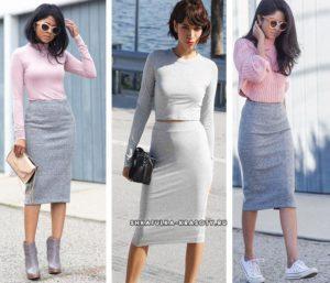 С чем носить юбку из трикотажа, модные образы и лучшие бренды