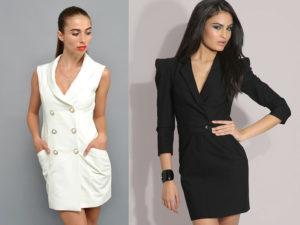 Разновидности моделей стильных платьев фасона пиджак и с чем их носить