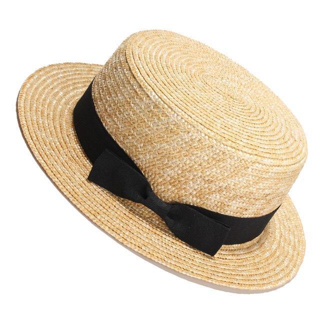 Стильная Шляпа-канотье с черной ленточкой