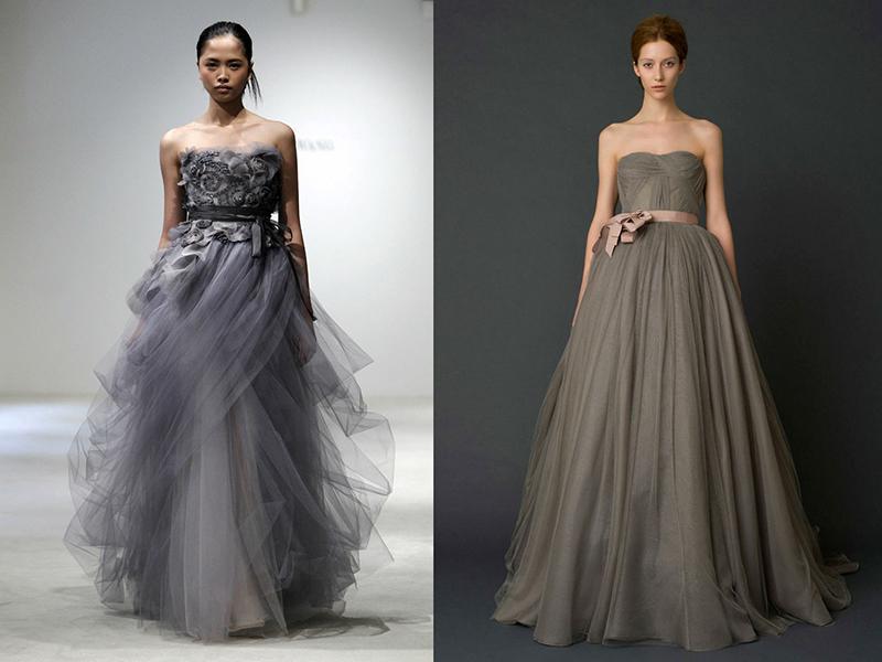 пышные платья серое
