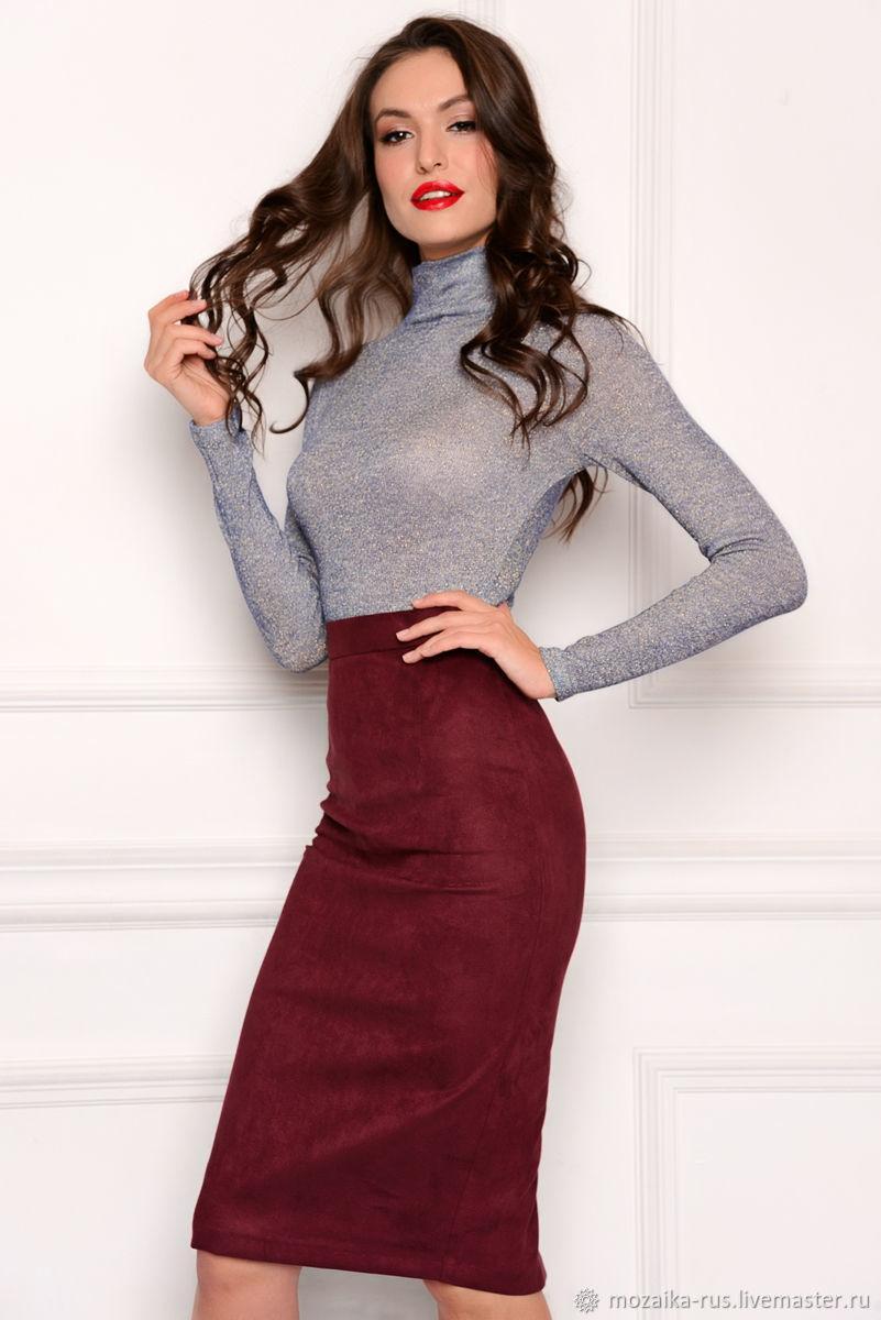 юбка бордо с серым верхом