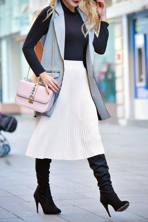 Белая юбка осенью