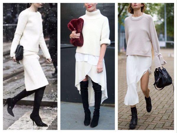 Белая юбка зимой