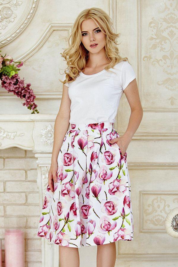 Пышная летняя женская миди юбка