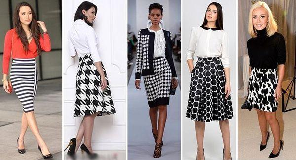 Белая юбка с геометрическими фигурами