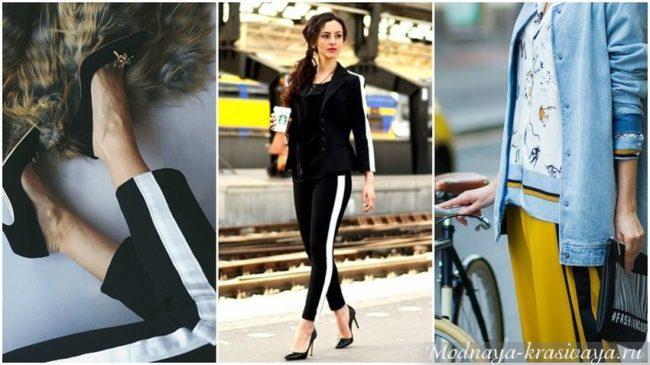 Модные образы и модели штанов с лампасами, с чем их лучше носить