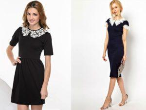 С чем носить черные платья с белым воротником и обзор модных образов