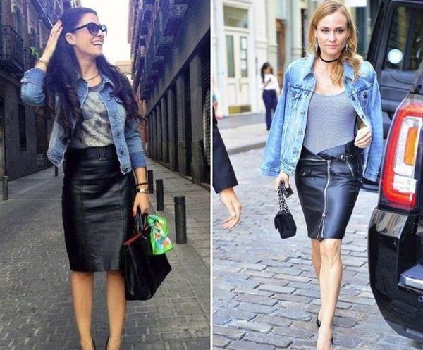 черная юбка из кожи с джинсовой курткой