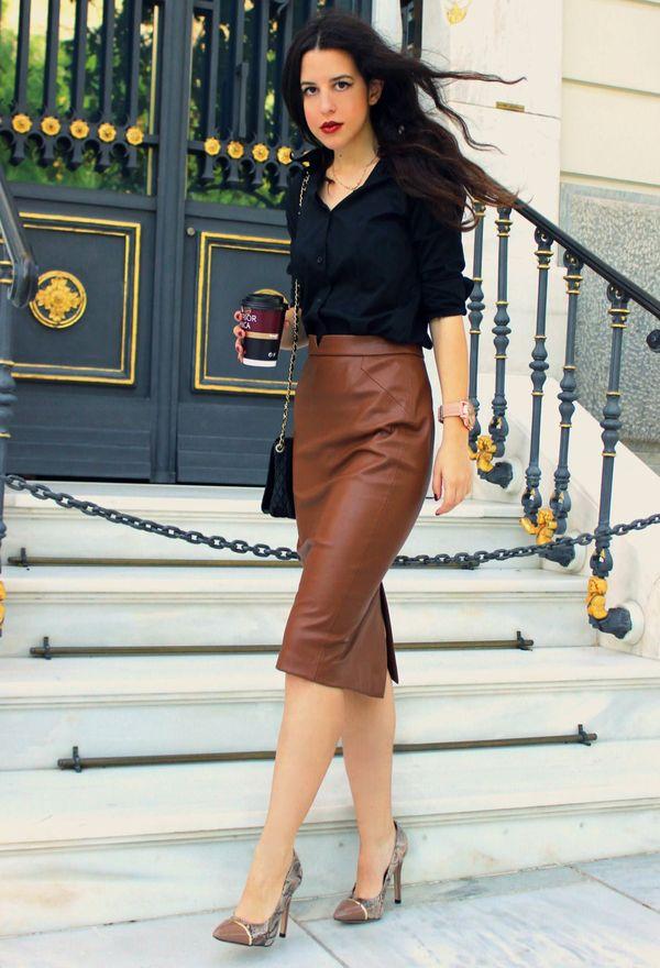 юбка карандаш коричневая