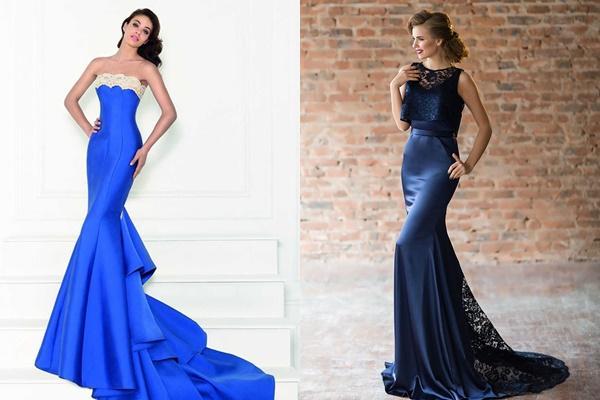 платье рыбка синее