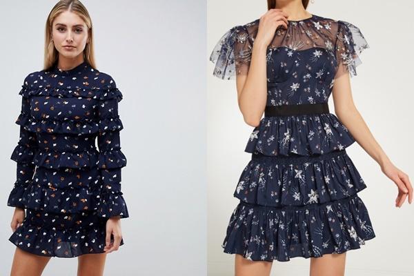 синее платье с волнами