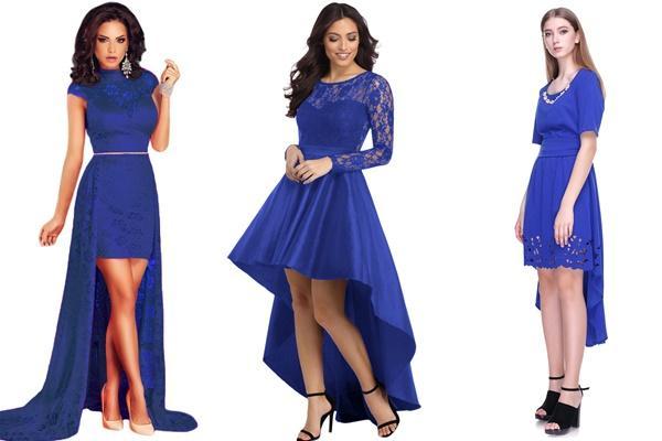 синее платье со шлейфом