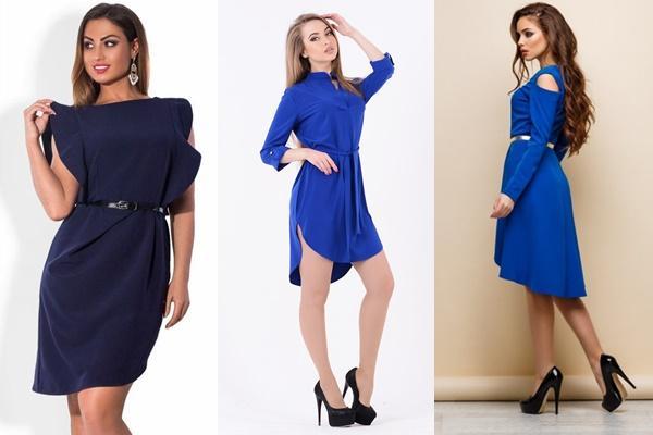 синее платье ассиметрия