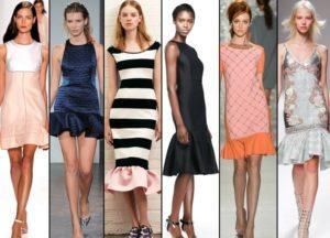 Красивые модели платьев с воланами внизу и не только, с чем и как их носить
