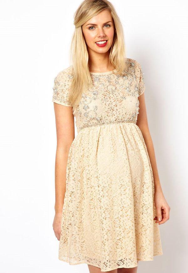Платье для беременных бежевое