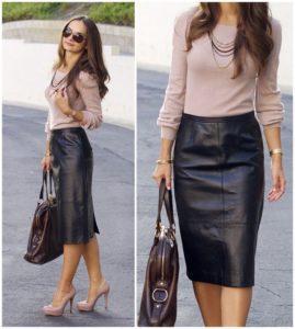 С чем можно носить модную кожаную юбку, стильные фасоны и образы 2019