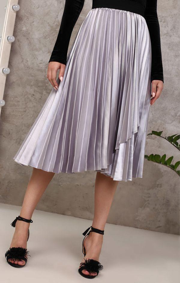 Металлизированная юбка-плиссе