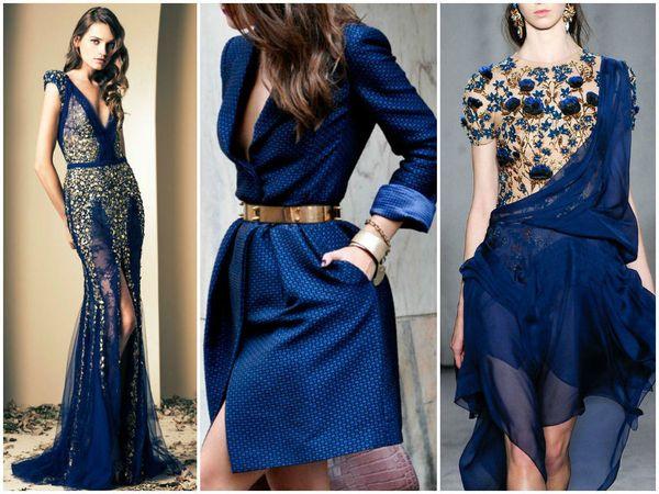 Темно-синее платье с принтами
