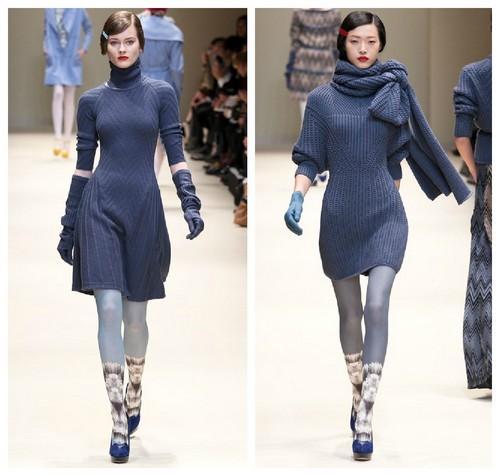 синее платье зима