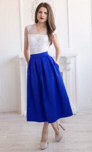 Фасоны и трендовые модели синей юбки, с чем лучше носить и сочетать