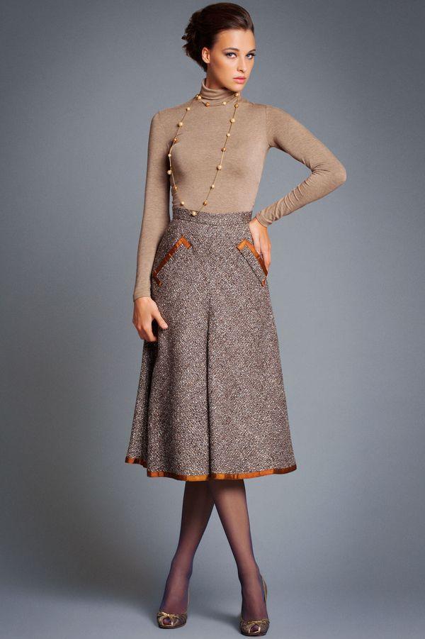 теплые юбки миди