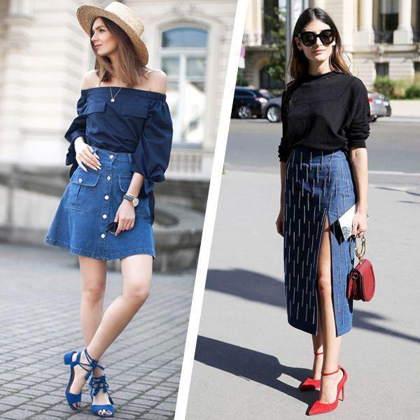 джинсовые юбки с вырезом