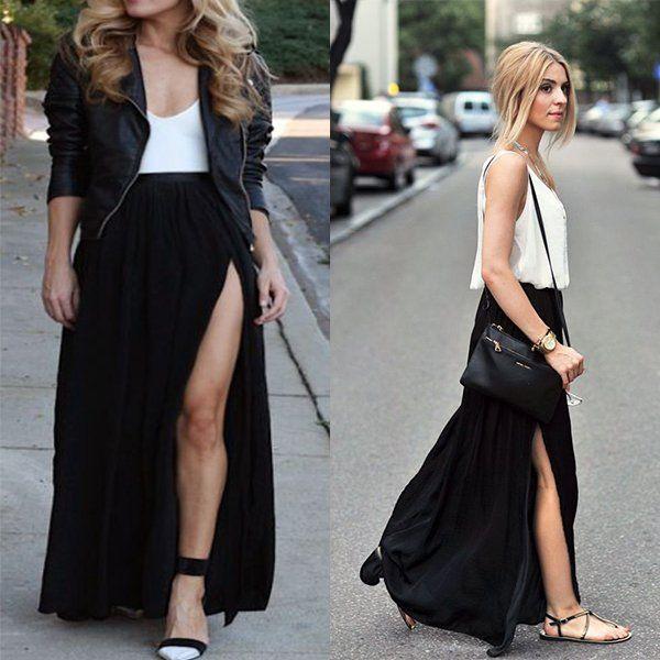 Длинная юбка с разрезом черного цвета