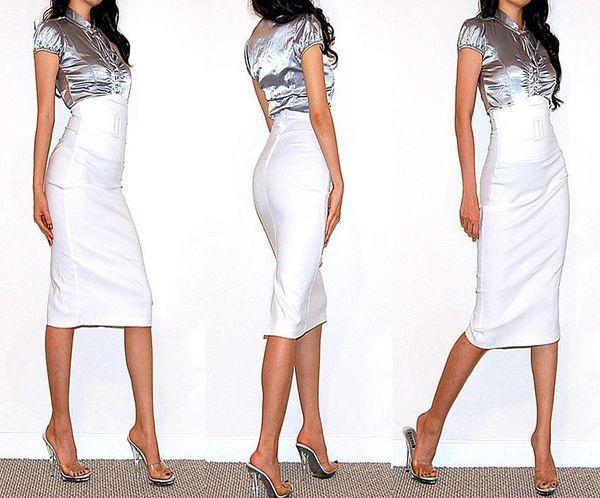 белая узкая юбка