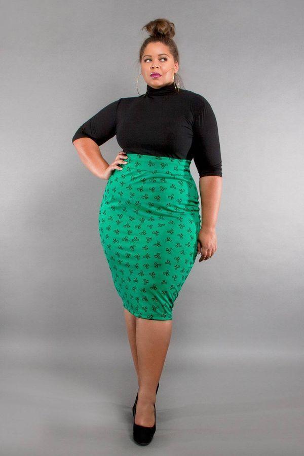 Прямая юбка для полных с завышенной талией
